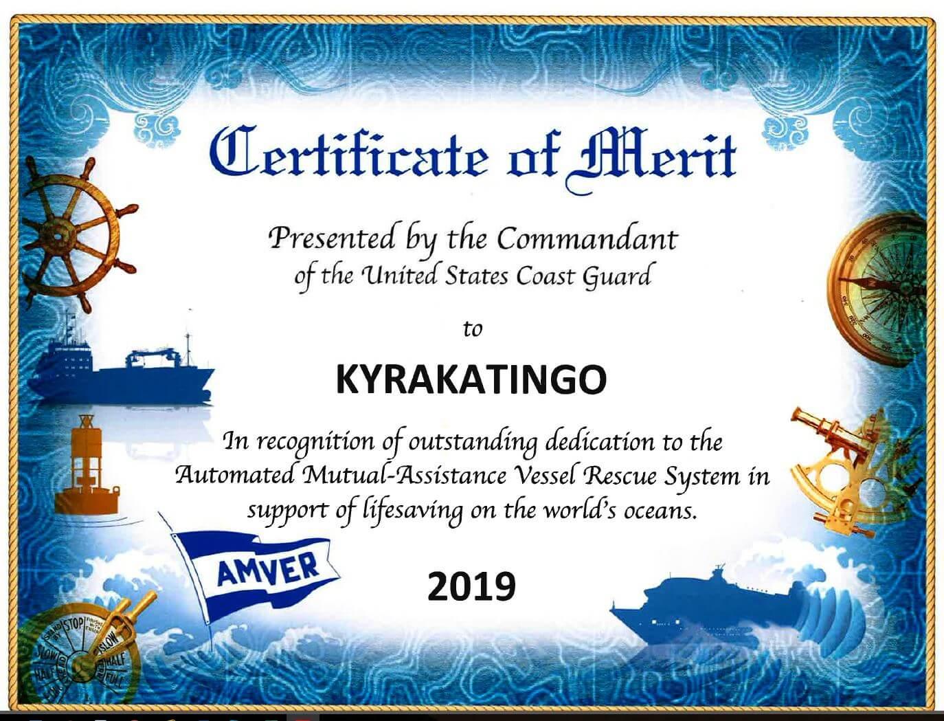 Certificate of Merit for M/T Kyrakatingo